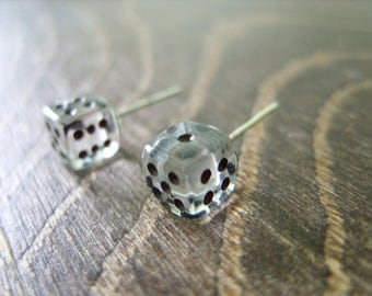 tiny dice post earrings transparent black dots unisex jewelry for her for him rpg geek nerd geeky geekery fun game gamer