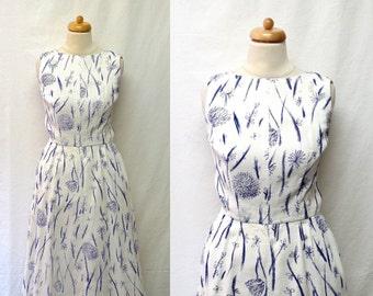 1950s / 60s Vintage Cotton Faille Dress / Indigo & White Sketch Print Floral Dress