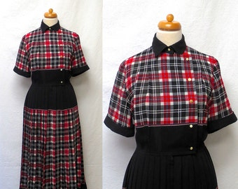 1980s Vintage Shirtwaist Dress / Red White Black Blue Plaid Pleated Dress