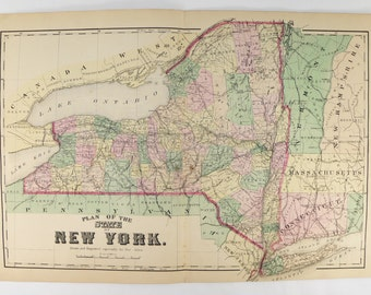 1874 Antique New York Map, Handcolored Original Antique Map NY, New York Gift for Friend, Unique Wedding Gift for Couple, NY Office Decor
