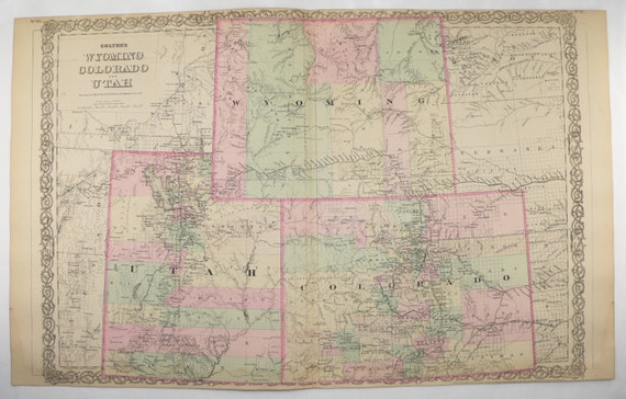 1881 Colton Colorado Map Wyoming Utah Map Western us States
