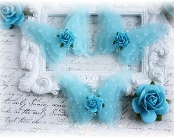 Shabby Vellum Butterfly Embellishments for Scrapbooking, Cardmaking, Altered Art, Tag Art, Mini Album, Blue
