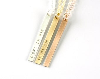 Personalized Jewelry Gift  REVERSIBLE Vertical Bar Necklace, Skinny Vertical Two Sided Monogram Necklace, Rose Gold Necklace Vertical