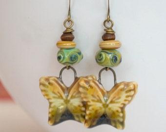 Butterfly Earrings, Earthy Earrings, Ceramic Earrings, Boho Chic Earrings, Lampwork Glass Bead Earrings, Insect Jewelry