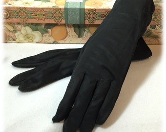 Vintage Ladies Black Nylon Stretch Gloves Hong Kong Label Cool Weather Hand Protection