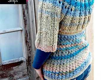 Folk turquoise crocheted and knitted sweater ready to ship
