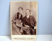 Antique Victorian cabinet card Victorian photograph man and woman