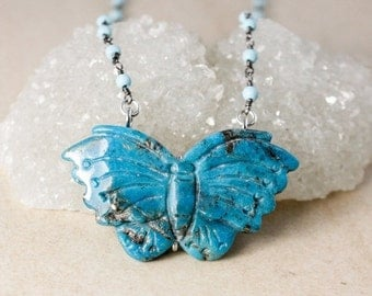25% OFF Natural Turquoise Butterfly Pendant Necklace – Choose Your Pendant