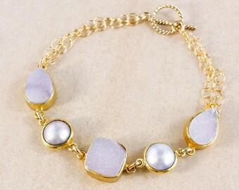 20% OFF Freshwater Button Pearl Bracelet – Druzy – 14K Gold Filled