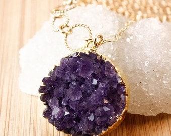 50% OFF Long Druzy Necklace - Purple, Grey, Maroon Druzy - Choose Your Druzy Stone