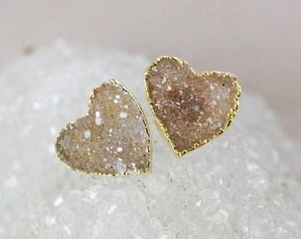 LABOR DAY SALE Light Brown Druzy Heart Studs - 14K Gold Filled - Minimalist Earrings
