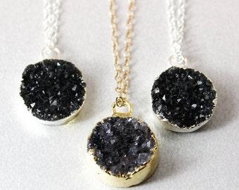 Black Druzy Necklace - Round Druzy Pendants - Gold or Silver