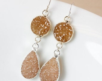 50 OFF SALE Natural Orange Druzy Dangle Earrings - 925 Sterling Silver