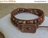 SALE Abundance Jasper Beaded Leather Wrap Bracelet