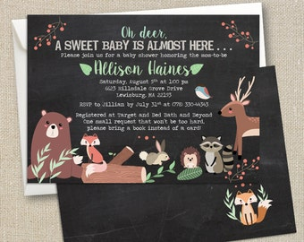 Woodland Animals - Oh Deer - Baby Shower Invitation - Digital Printable File - Double-sided