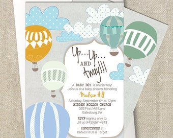 Hot Air Balloon Baby Boy Shower Invitation - Up Up and Away- Digital Printable File