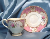 Staffordshire Rose-Pink Footed Demitasse Cup & Saucer by Myott Staffordshire