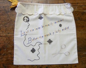 Vintage Embroidered Darning Sewing Project Bag