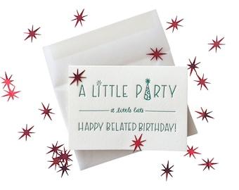 Confetti Belated Birthday letterpress card