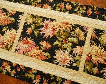 Quilted Table Runner with Mums in Shades of Pink Gold Yellow Green on Black, Quilted Table Mat, Quilted Table Topper, Floral Table Runner
