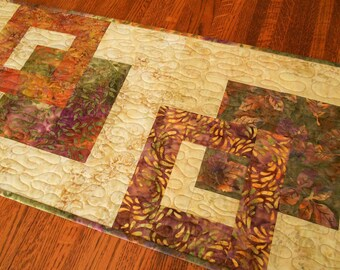 Modern Batik Table Runner in Purple Green and Gold Leaves, Fall Table Runner, Autumn Colors Quilted Table Mat, Quiltsy Handmade