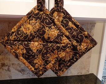 Copper and Browns with Gold Scrolls Quilted Hotpads or Potholders Set