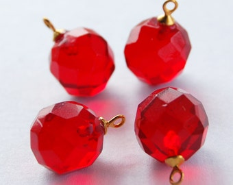 Vintage Ruby Red Faceted Glass 4 Pendant Beads 12mm Brass Gold Tops