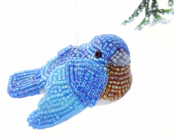 Bluebird Ornament Beaded Eastern Bluebird Holiday Decoration Housewarming Gift *READY TO SHIP