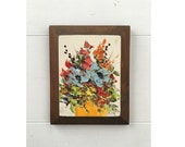 Vintage 70s small floral wood acrylic wall art urban chic decor apartment therapy