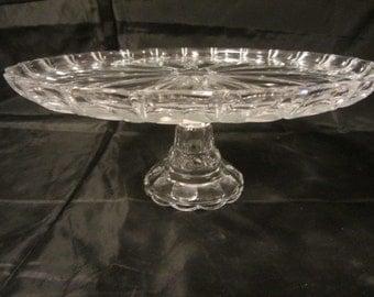 "11"" Vintage Glass Pedestal Cake Plate/Platter, Pedestal Dish, Retro Raised Cake Dish, Raised Serving Plate, Glass Serving Plate, Pedestal"