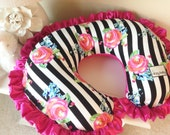 Black and White Stripe Floral and Hot Pink Nursing Pillow Cover, Nursing Pillow reverses to a Super Soft Minky