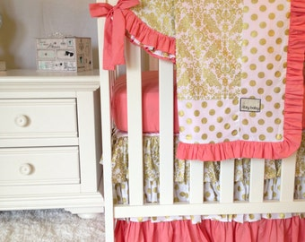 Gold Damask Bumperless 4pc Crib Bedding, Coral Baby Bedding, Gold Dot Crib Bedding, Bumperless Baby Bedding, Bumperless Crib Set