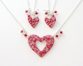 Mother and 2 Daughters Matching Necklace Set in Scarlett Red with Jewel Charms