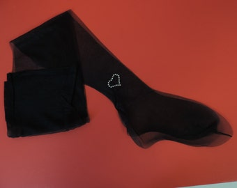 50s rhinestone stockings 50s thigh high nylons Albert's black jeweled heart hosiery small new old stock