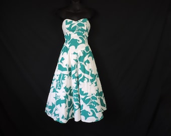 tropical strapless dress 80s teal island print fit and flare dress retro Summer dress XS small