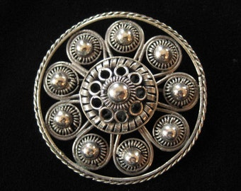 Antique 800 Silver Filigree Brooch, Tube Hinge and Trombone Clasp