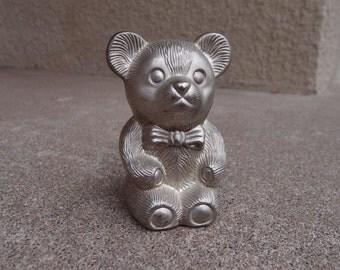 Vintage Teddy Bear Penny Bank Silver Metallic Metal Kids Children Piggy Bank Saving Money Storage Organization