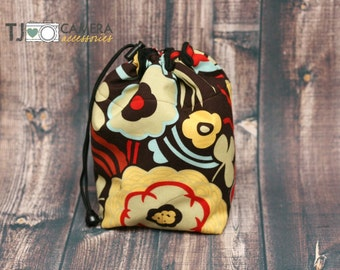 DSLR Camera, Travel COZY, Camera Pouch, Large  Retro, Floral Print, Alexander Henry, MOCCA Brown, Camera Gear
