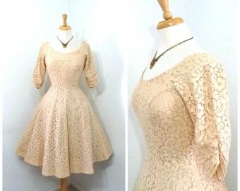 Vintage 1950s Lace dress Peach Chantilly Lace Party Cocktail Dress