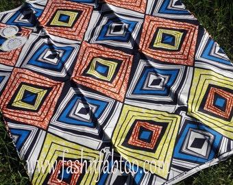 West African Wax Cotton Print Fabric - African Ankara Fabric - Diamondi