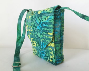 Mini Mini Hipster Batik Smart Phone Case Adjustable Strap Quilted Fabric Vera Bradley Type Greens Yellow