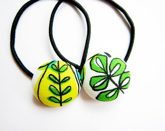 Button Ponytail Holders - Green Leaves