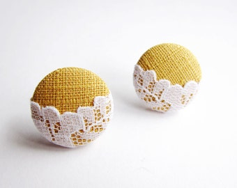 Button Earrings / Clip On Earrings / Stud Earrings - lace on mustard yellow earrings