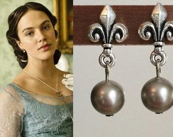 Lady Sybil Crawley Fleur De Lis Swarovski Pearl Earrings