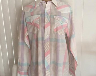 Vintage Guy's H Bar C Western Shirt in Pink Plaid -- Size L