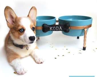 Raised Dog Bowl - Diner - Ceramic dog bowls - Pet Bowls with metal Stand - Blue Turquoise  and White, turquoise - Red - White