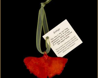 Real Ginkgo Leaf Dipped In Iridescent Copper with Ribbon and Hang Tag Ornaments - Real Dipped Leaves - Christmas Ornaments
