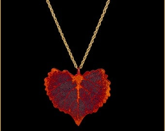 Real Cottonwood Leaf Dipped In Iridescent Copper Pendant With Gold Chain - Real Dipped Leaf - In Gift Box