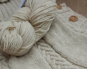 Worsted Weight Yarn - Undyed, Natural - Polypay Wool, Alpaca - 3 ply