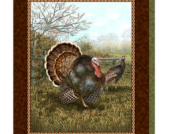 Quilting Treasures Fabric Bountiful Blessings Thanksgiving Turkey Fabric Panels
